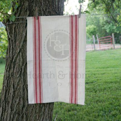 Red Grain sack Dish Towel