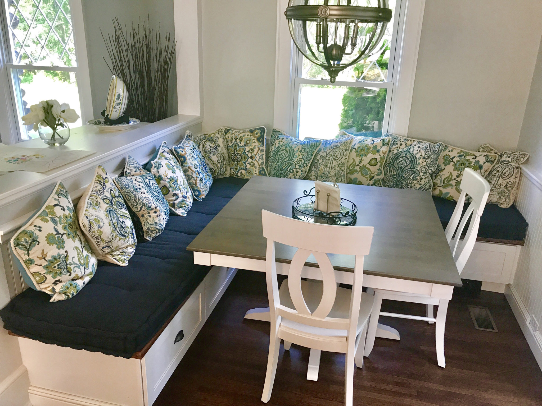 Hand Tufted Kitchen Banquette Cushions In Navy