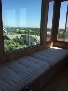 Hand tufted window seat cushion Crypton Sky Salt
