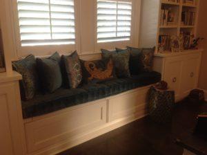 hand tufted window seat cushion blue velvet