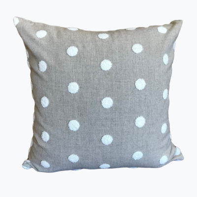 Embroidered Polka Dot Linen Pillow Cover