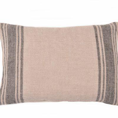 Farmhouse Belgian Linen Black Stripe Pillow Cover