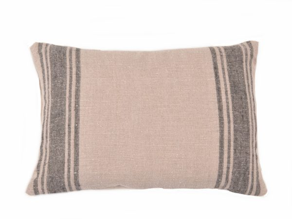 Farmhouse Belgian Linen Black Stripe Pillow Cover