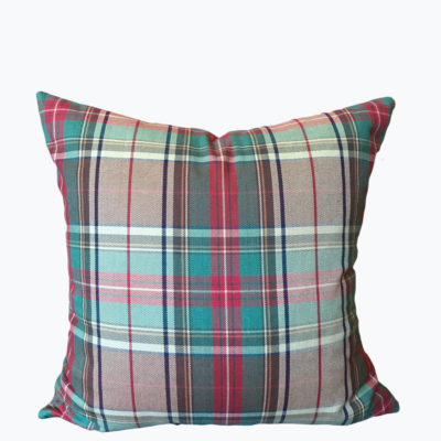 Tan Red Green Holiday Plaid Pillow Cover