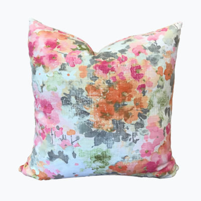 Watercolor Floral Pink/Orange Pillow Cover